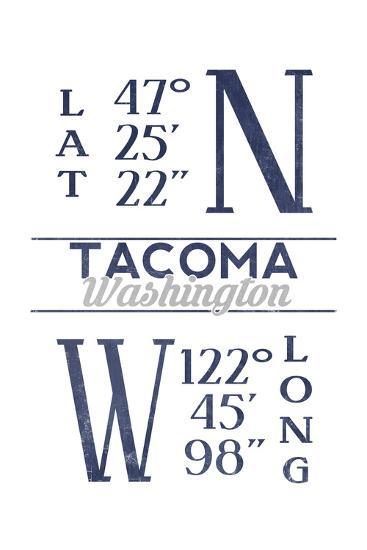 Tacoma, Washington - Latitude and Longitude (Blue)-Lantern Press-Art Print