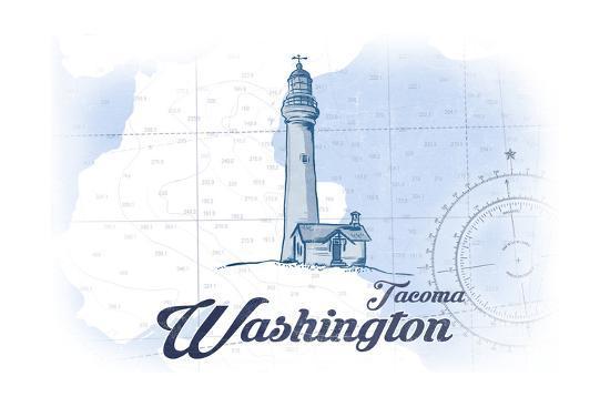 Tacoma, Washington - Lighthouse - Blue - Coastal Icon-Lantern Press-Art Print