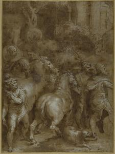 Horses and Men, Facing Right by Taddeo Zuccaro