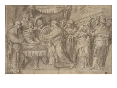 Romains déposant des bijoux selon le voeu de Camille après la prise de Véies