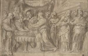 Romains déposant des bijoux selon le voeu de Camille après la prise de Véies by Taddeo Zuccaro