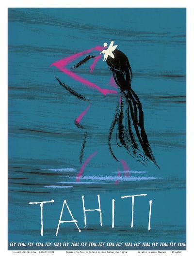 Tahiti - Nude Tahitian Girl - Fly Teal (Tasman Empire Airways Limited)-Arthur Alfred Thompson-Art Print