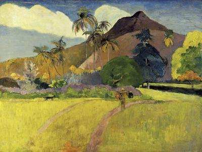Tahitian Landscape with a Mountain-Paul Gauguin-Giclee Print