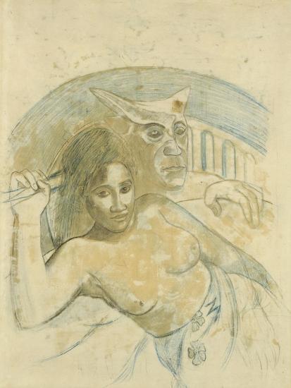 Tahitian Woman with Evil Spirit-Paul Gauguin-Giclee Print