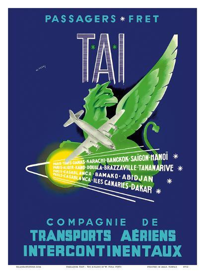 TAI Airline - Passengers Freight - Air Route Destinations between France and Africa, Asia-W^ Pera-Art Print