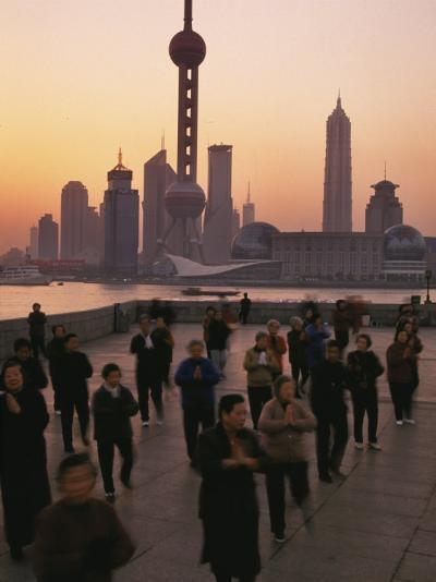 Tai-Chi on the Bund, Oriental Pearl TV Tower and High Rises, Shanghai, China-Keren Su-Photographic Print