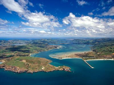Taiaroa Head, Otago Peninsula, Aramoana and Entrance to Otago Harbor, near Dunedin, New Zealand-David Wall-Photographic Print
