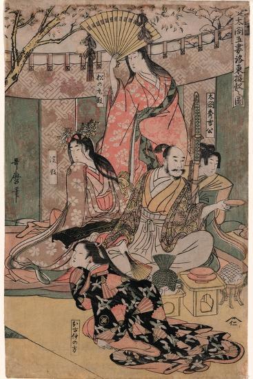 Taiko Gosai Rakuto Yukan No Zu-Kitagawa Utamaro-Giclee Print