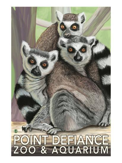 Tailed Lemurs, Point Defiance Zoo and Aquarium-Lantern Press-Art Print