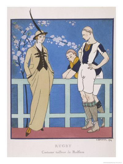Tailor-Made by Redfern with Draped Skirt with Side Pockets Waistcoat and Jacket-Georges Barbier-Giclee Print