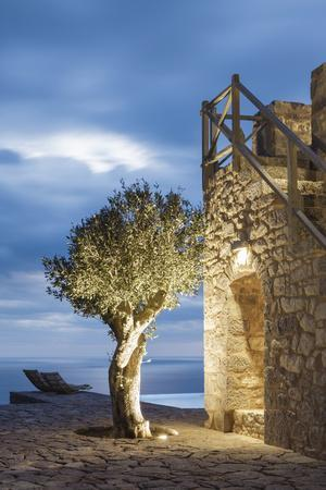 Tainaron Blue Retreat in Mani, Greece. Exterior View of an Alcove in a Stone Wall and a Tree-George Meitner-Photographic Print