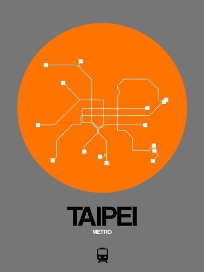 Taipei Orange Subway Map-NaxArt-Art Print