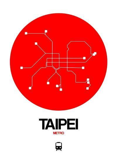Taipei Red Subway Map-NaxArt-Art Print