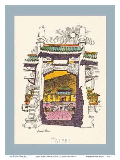 Taipei Taiwan - National Palace Museum - TWA (Trans World Airlines) Menu Cover-David Klein-Art Print