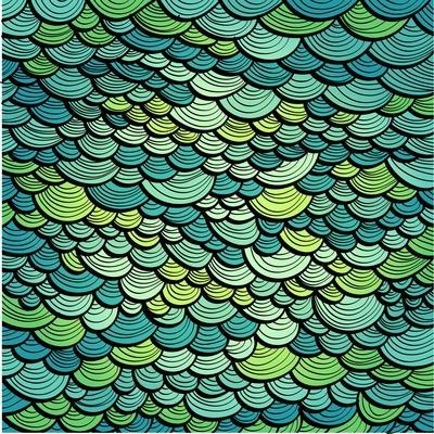Abstract Green Marine Background Imitating Fish Scales. Raster Version of the Vector Image