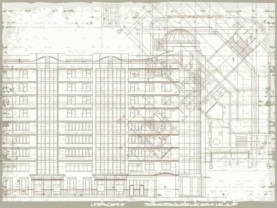 Grunge Horizontal Architectural Background with Elements of Plan and Facade Drawings