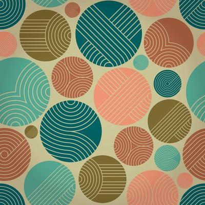 Seamless Geometrical Ornament with Striped Circles