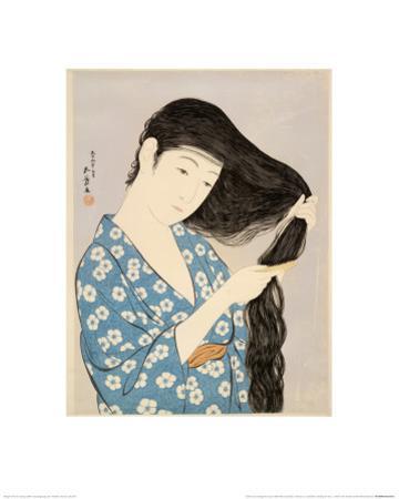 Woman in a Bathrobe Combing Her Hair by Taisho Era. Hashiguchi Goyo