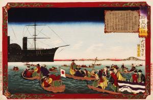 American Navy Commodore Matthew Perry arrives in Japan, August 7, 1853, Woodblock Print by Taiso Yoshitoshi