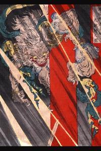 Watanabe No Tsuna Cutting the Arm of the Demon at Rashomon by Taiso Yoshitoshi