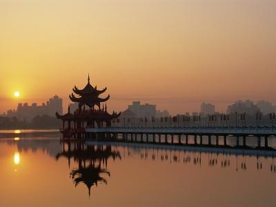 Taiwan, Kaohsiung, Lotus Lake at Sunset-Steve Vidler-Photographic Print