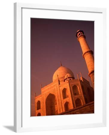 Taj Mahal and Minaret at Sunrise, Agra, Uttar Pradesh, India-Dallas Stribley-Framed Photographic Print