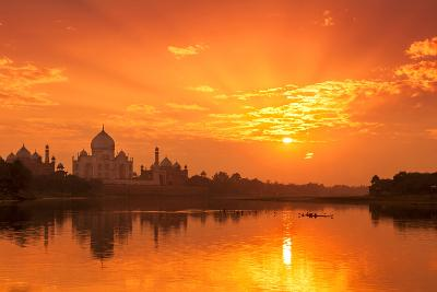 Taj Mahal and Yamuna River at Sunset-Adrian Pope-Photographic Print