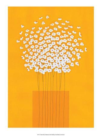Nine Stemmed Flowers in Orange Vase