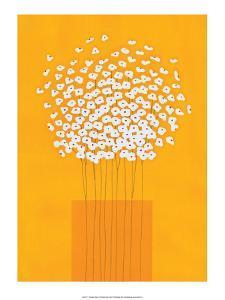 Nine Stemmed Flowers in Orange Vase by Takashi Sakai