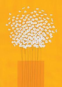 Nine Stemmed Flowers in Orange Vase by Takashi Sakai