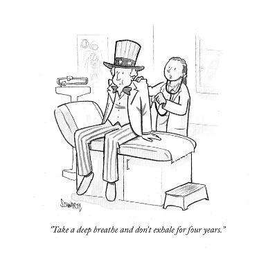 """""""Take a deep breath and don't exhale for four years."""" - Cartoon-Benjamin Schwartz-Premium Giclee Print"""