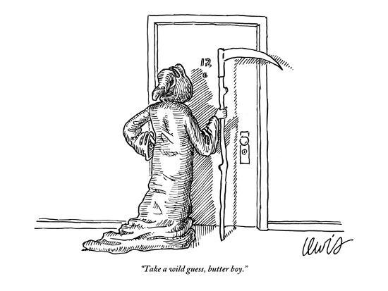 """Take a wild guess, butter boy."" - New Yorker Cartoon-Eric Lewis-Premium Giclee Print"