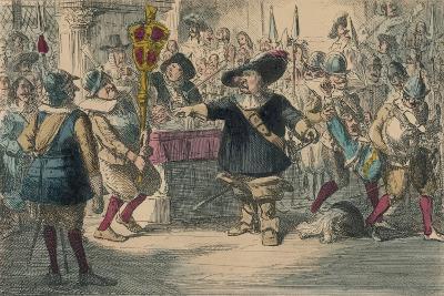 Take Away That Bauble: Cromwell Dissolving the Long Parliament, 1850-John Leech-Giclee Print