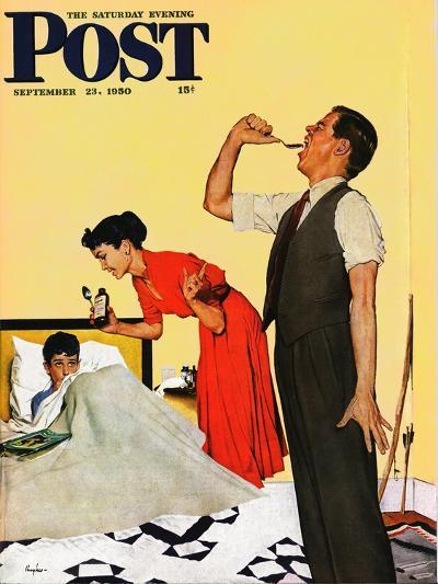 """""""Take Your Medicine"""" Saturday Evening Post Cover, September 23, 1950-George Hughes-Giclee Print"""
