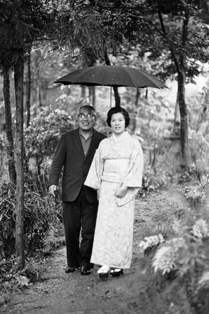 Couple Pose for Portrait in the Rain, Tokyo, Japan, 1967