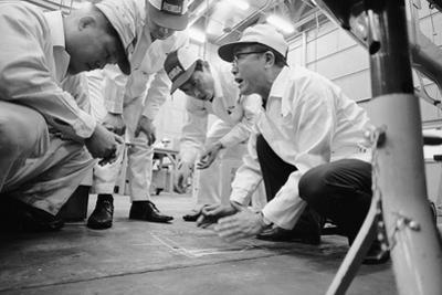 Founder of Honda, Soichura Honda Speaking to Engineers at Honda Plant, Tokyo, Japan, 1967