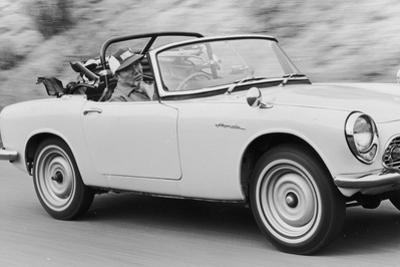 Soichiro Honda Driving Honda Convertible, Tokyo, Japan, 1967