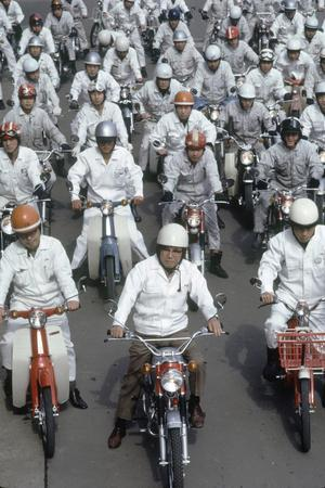 Soichiro Honda, Founder of Honda Corporation, Riding Motorcycles with Workers, Tokyo, Japan, 1967