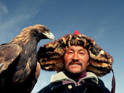 Takhuu Head Eagle Man, Altai Sum, Golden Eagle Festival, Mongolia-Amos Nachoum-Photographic Print