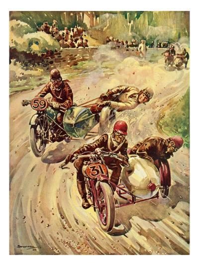Taking a Bend in a Tourist Trophy Sidecar Race--Giclee Print