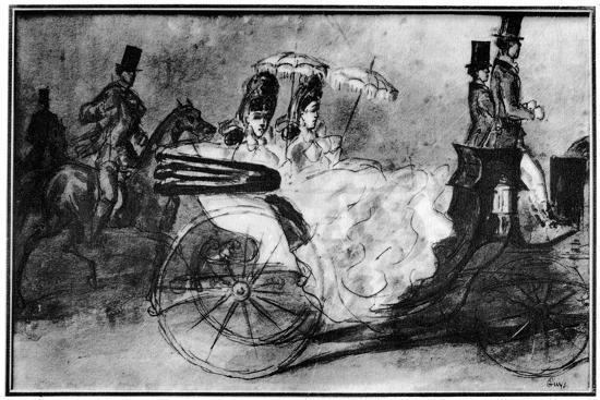 'Taking the Air', 19th century, (1930). Artist: Constantin Guys-Constantin Guys-Giclee Print