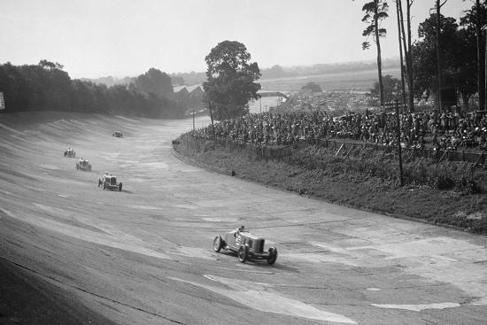 Talbot 90 on the banking at Brooklands, 1930s-Bill Brunell-Photographic Print
