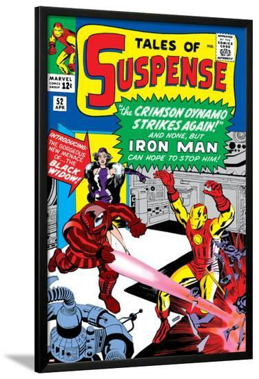 Tales Of Suspense No.52 Cover: Crimson Dynamo, Iron Man and Black Widow Fighting-Don Heck-Lamina Framed Poster