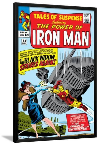 Tales Of Suspense No.53 Cover: Iron Man and Black Widow Flying-Don Heck-Lamina Framed Poster