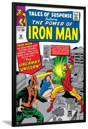 Tales Of Suspense No.56 Cover: Iron Man and Unicorn Fighting-Don Heck-Lamina Framed Poster
