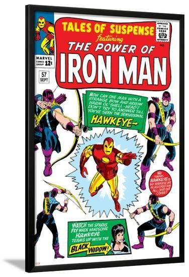 Tales Of Suspense No.57 Cover: Iron Man, Hawkeye and Black Widow-Don Heck-Lamina Framed Poster