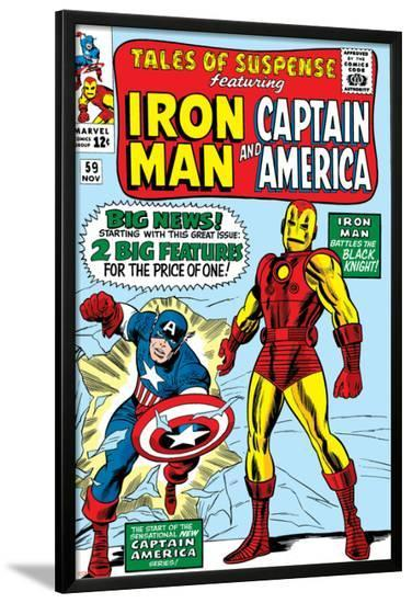 Tales Of Suspense No.59 Cover: Iron Man and Captain America Charging-Don Heck-Lamina Framed Poster