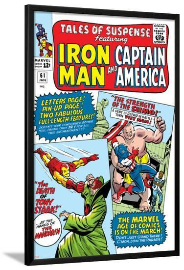 Tales Of Suspense No.61 Cover: Iron Man, Captain America, Sumo and Mandarin Fighting-Don Heck-Lamina Framed Poster