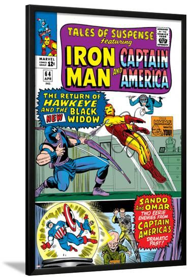 Tales Of Suspense No.64 Cover: Iron Man, Captain America, Hawkeye, Black Widow, Sando and Omar-Don Heck-Lamina Framed Poster