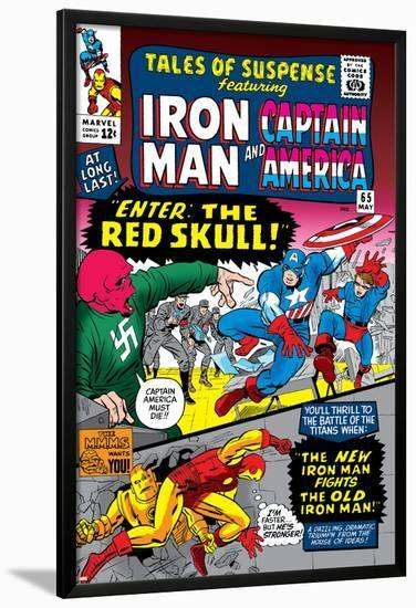 Tales Of Suspense No.65 Cover: Iron Man, Captain America, Bucky and Red Skull Swinging-Don Heck-Lamina Framed Poster